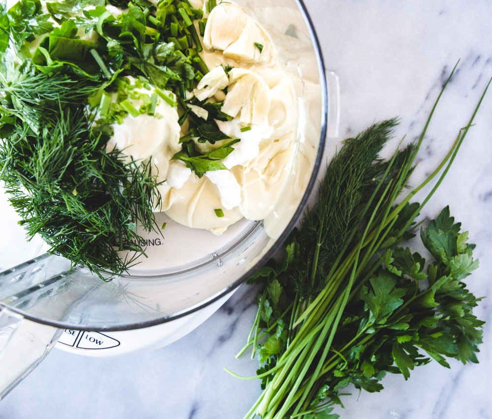 Healthy Homemade Ranch Dressing With Fresh Herbs. Visit freshandlively.com for the recipe!