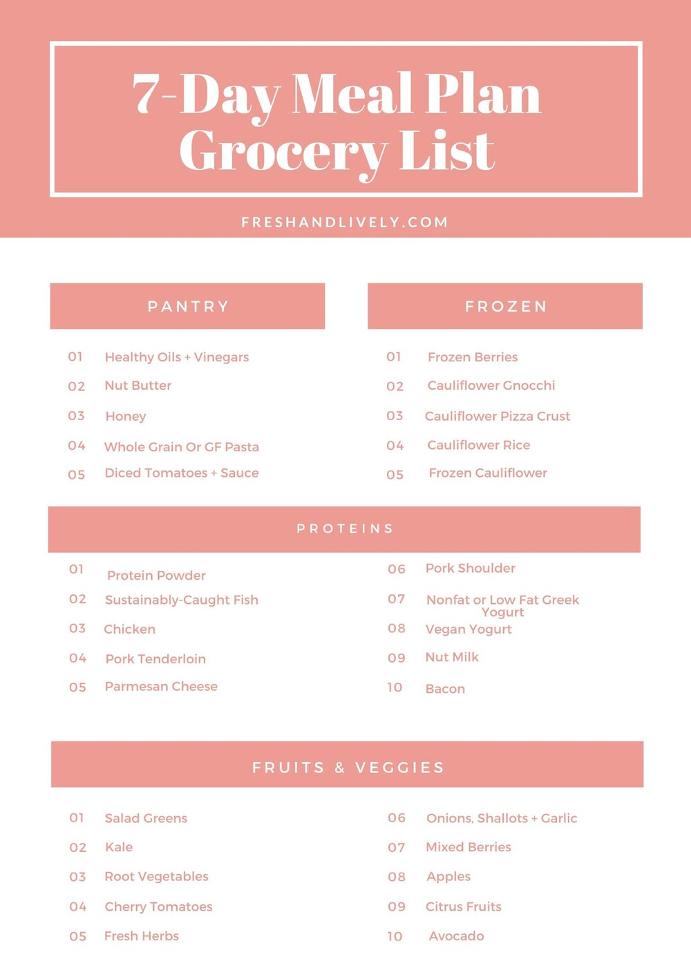 A basic grocery list for my 7-day healthy meal plan. detailed list included in this blog post!