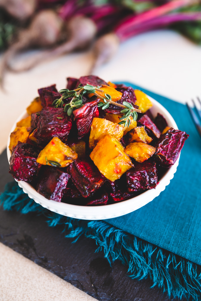 Close up of a bowl of air fryer roasted beets.