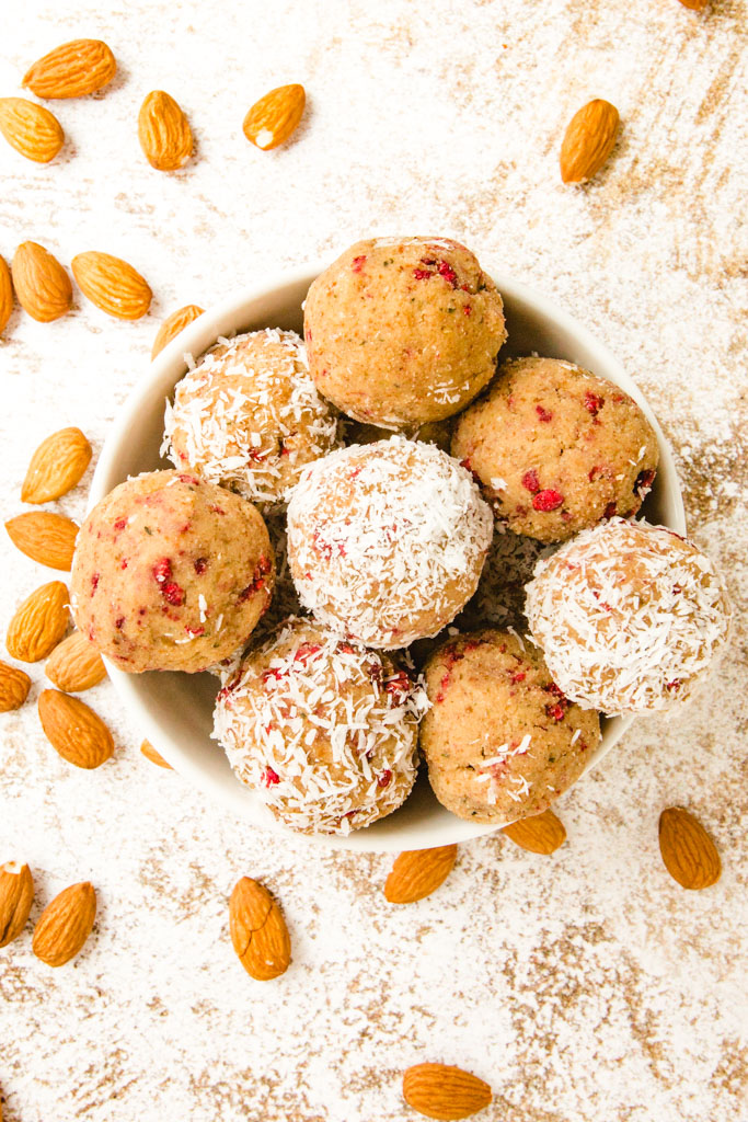 Almond pulp energy balls in a bowl