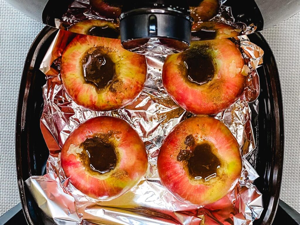 Apples ready for baking in the air fryer