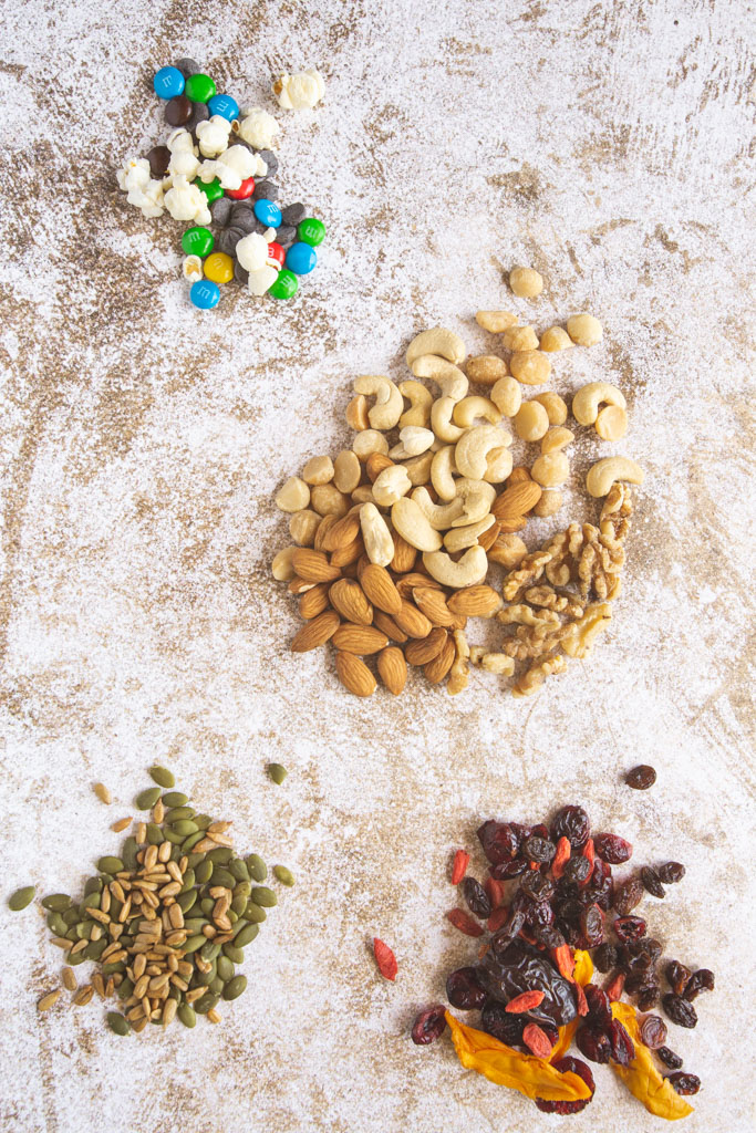 Ingredients for homemade trail mix laid out.