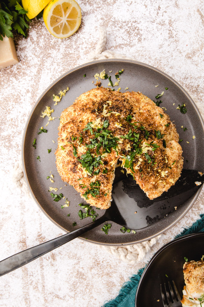 Whole roasted cauliflower with herbs and parmesan